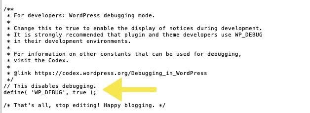 Código de WordPress debugging añadido al archivo 'wp-config.php'.