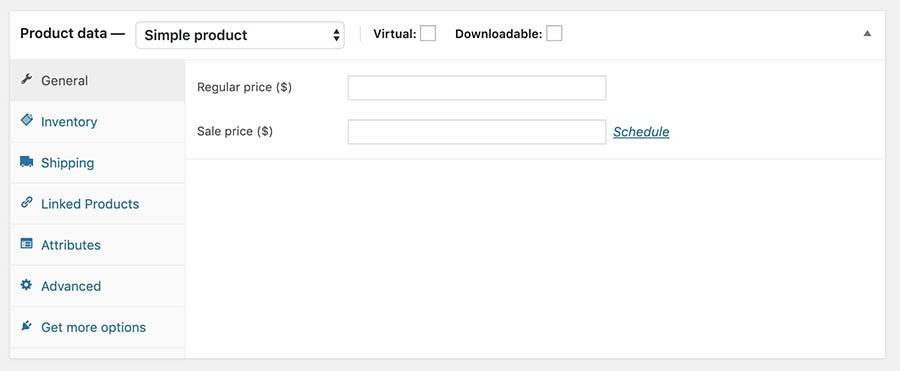 La sección product data del editor de producto de WooCommerce.