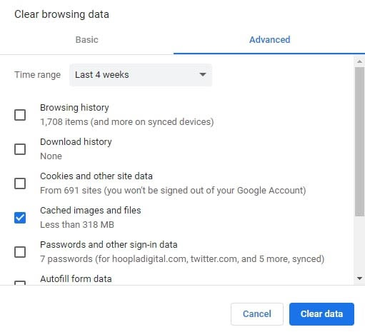 Options for clearing the browser cache in Chrome.
