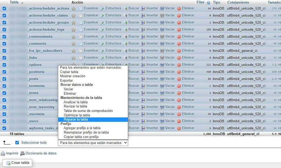 Reparando una base de datos en phpMyAdmin.