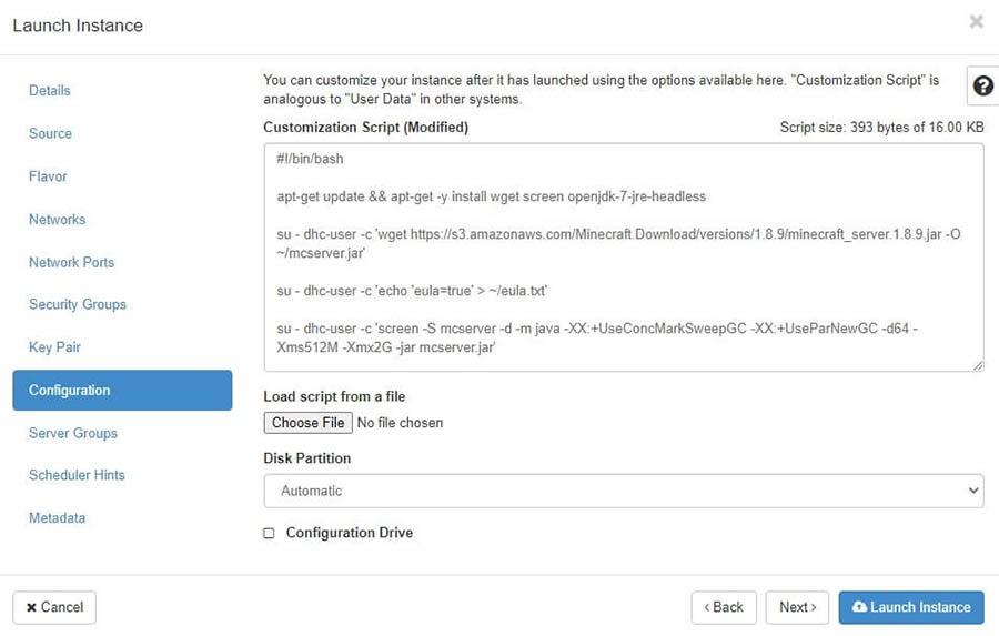 """La ventana emergente""""Launch Instance"""" con la sección """"Configuration"""" seleccionada."""