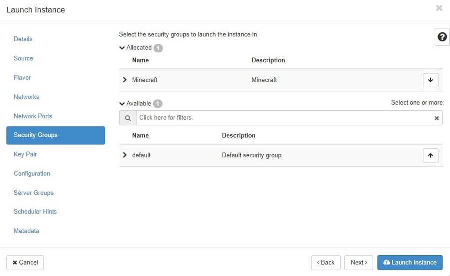 """La ventana emergente """"Launch Instance"""" con la sección """"Security Groups"""" seleccionada."""