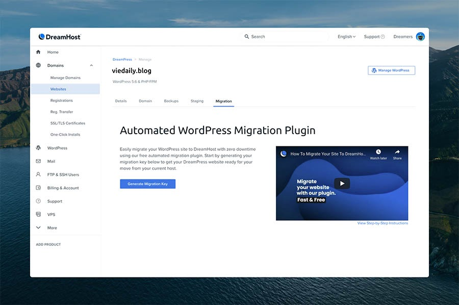 The new Automated WordPress Migration Plugin under the Migration tab in the Websites section of the panel.