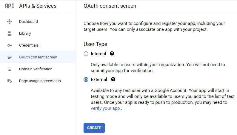 Configurando una pantalla de consentimiento OAuth.