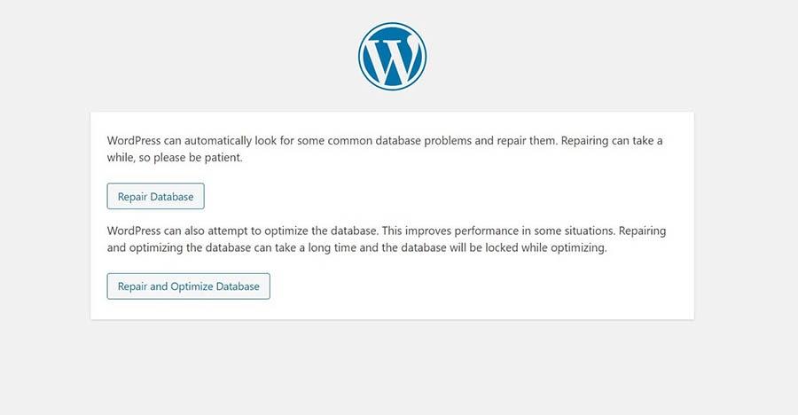 La herramienta de reparación de bases de datos de WordPress.