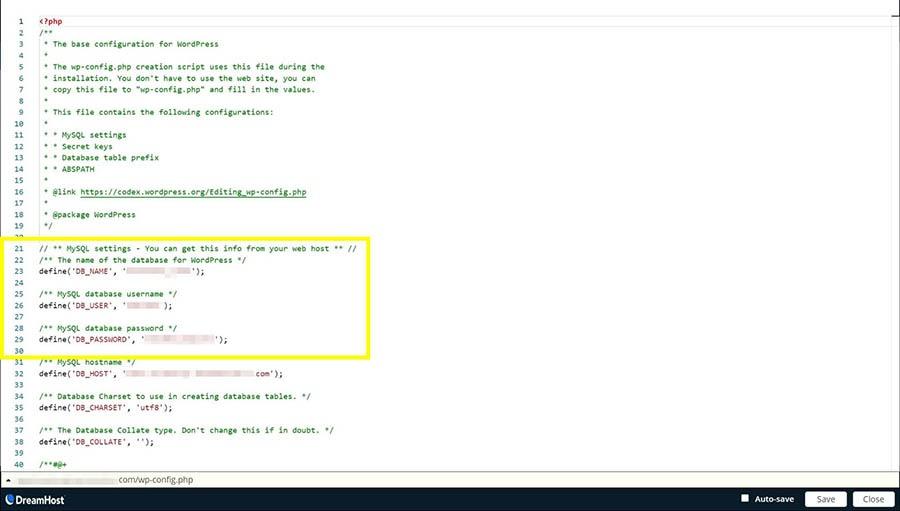 Las credenciales de inicio de sesión de una base de datos en el archivo wp-config.php.