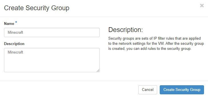 La pantalla de creación de Security Group de DreamCompute.