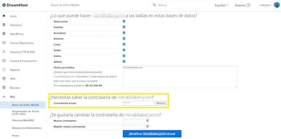 Las opciones de contraseña de un usuario de base de datos en el Panel de Control de DreamHost.