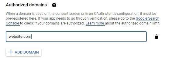 Adding an authorized domain.