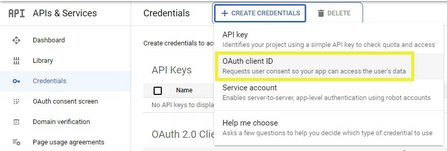 Creating an OAuth client ID.