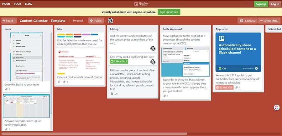 Vista de las integraciones de Trello en un calendario de contenido