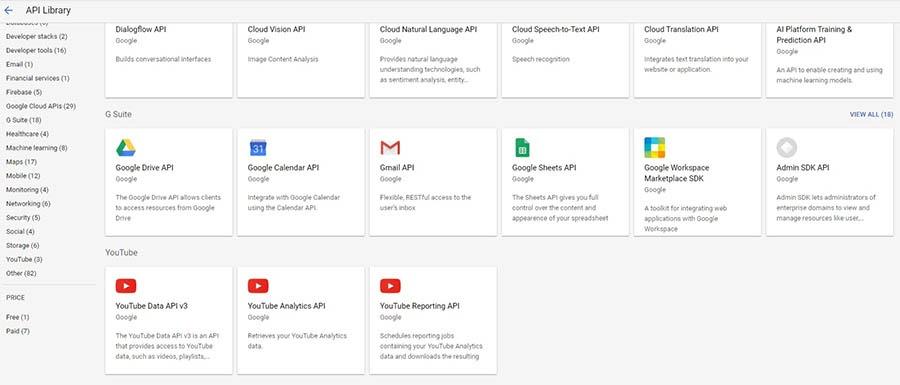 Biblioteca de API de Google.