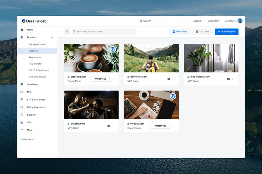 The new Grid View in the Websites section of the DreamHost panel.