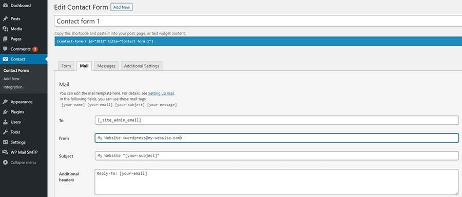 La página de configuración de Contact Form 7.