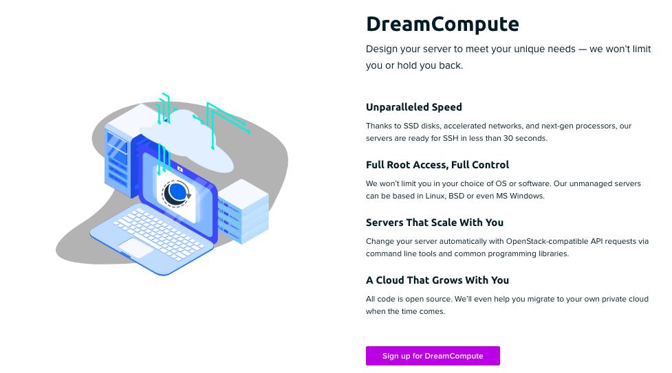 Página de información general de DreamCompute