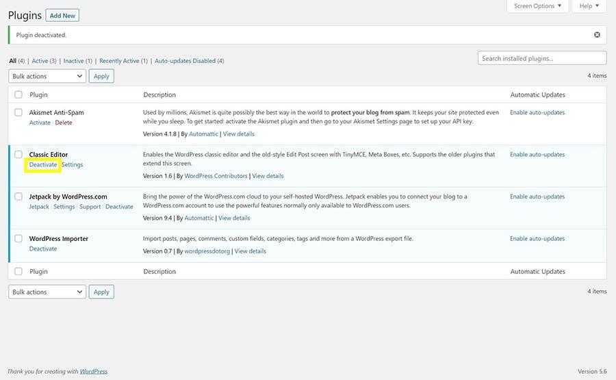 El botón 'deactivate' en la página de configuración de plugins de WordPress.