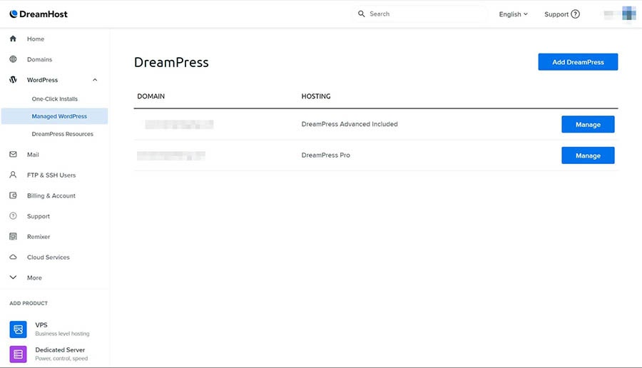 The DreamPress domain settings page.