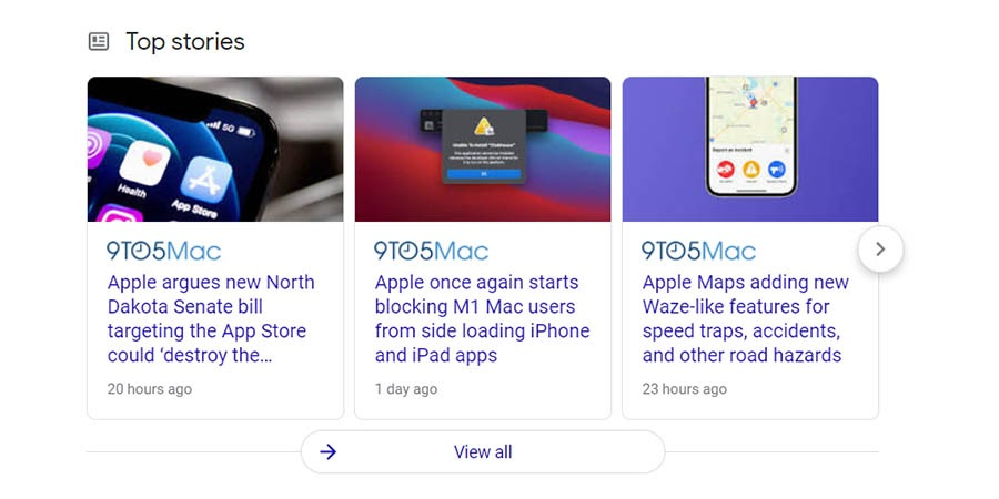 An example of the Google top stories section.
