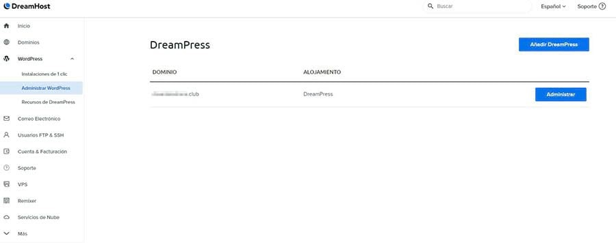 La página de configuraciones de dominio de DreamPress.