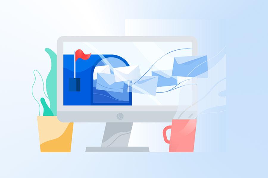 Ilustración de una bandeja de entrada de correo en un computador