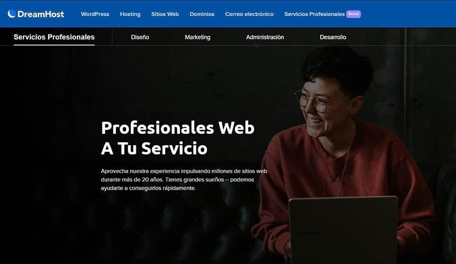 Página de inicio de Servicios Profesionales de DreamHost