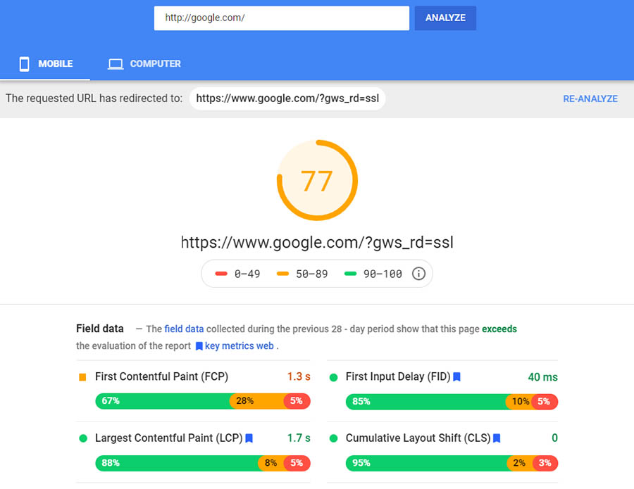 Resultados móviles de PageSpeed Insights.