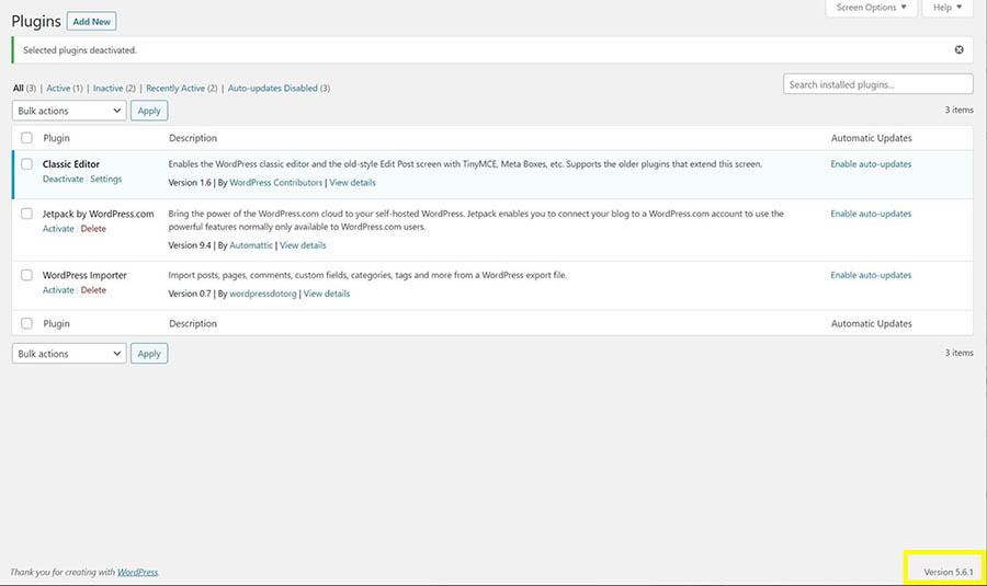 La versión WordPress en uso en un sitio web.