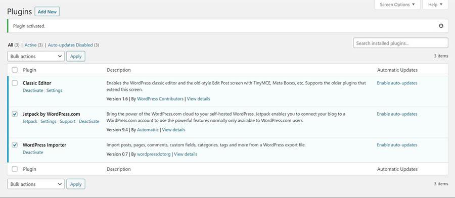 El administrador de plugins de WordPress.