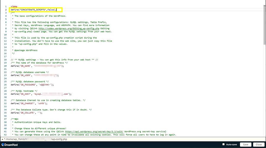 El archivo wp-config.php, mostrando la ubicación de la etiqueta de apertura <php>.