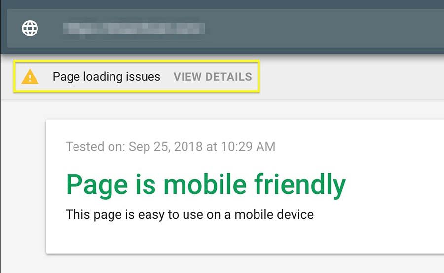 Notificación Page loading issues, en los resultados de Mobile-Friendly Tool