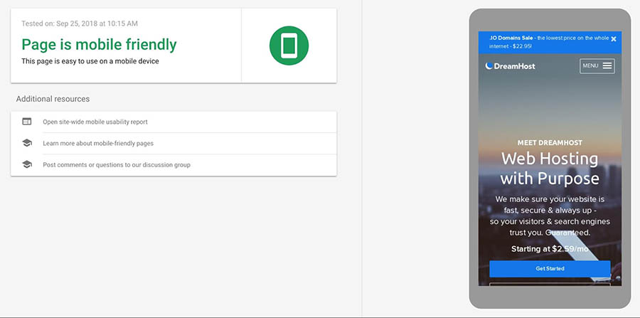 Página de resultados de Mobile-Friendly Tool