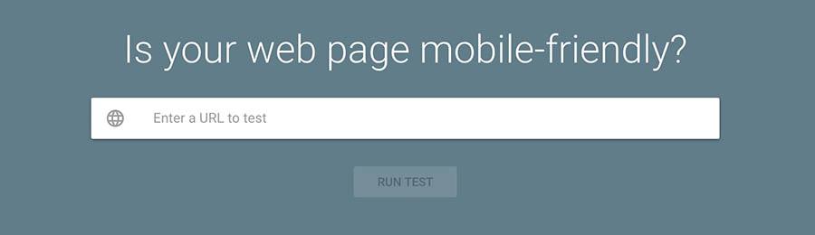 Barra de búsqueda de la página de Mobile-Friendly Tool