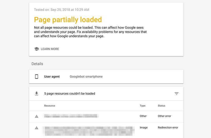 Notificación Page Partially Loaded, en los resultados de Mobile-Friendly Tool