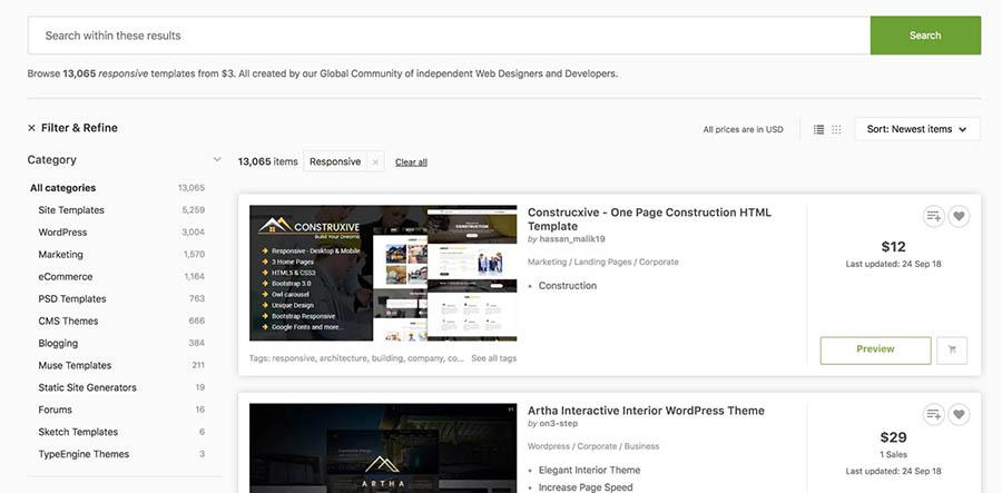Página de categorías de temas, Themeforest.