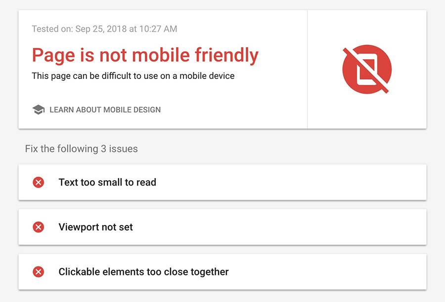 Resultado de página no compatible con dispositivos móviles, Mobile-Friendly Tool