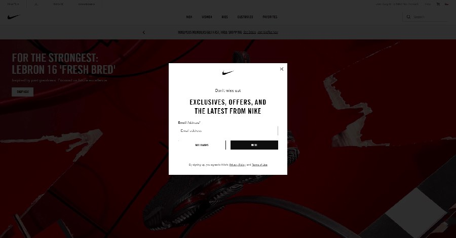 Ejemplo de una ventana emergente o pop-up en Nike.com