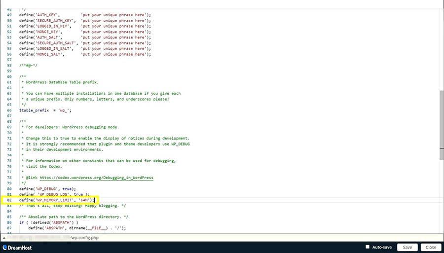 Código añadido al archivo wp-config.php en SFTP.