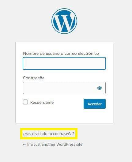 La opción de recuperación en una página de inicio de sesión de WordPress.