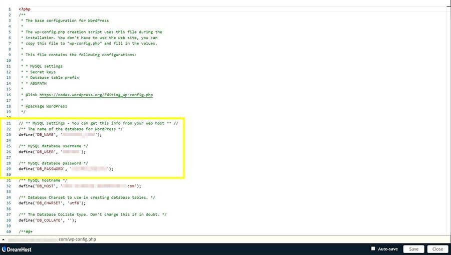 Detalles de la base de datos MySQL en el archivo wp-config.php.