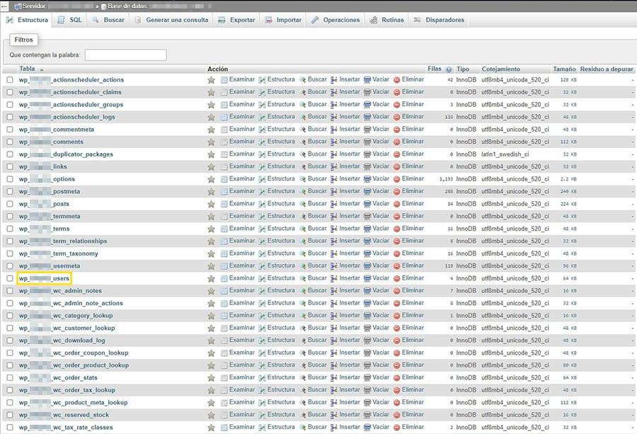 La tabla wp-users en phpMyAdmin.