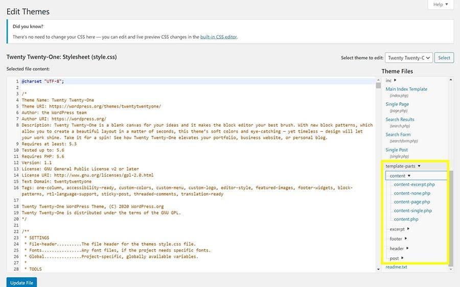 Template parts en el editor de tema de WordPress.