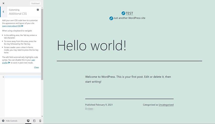 La sección de personalización de CSS de WordPress.