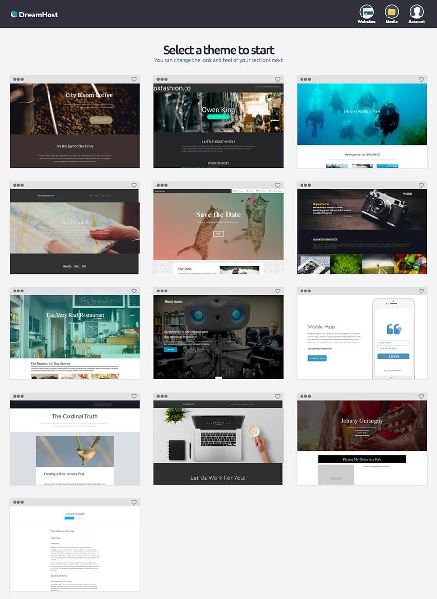 Página inicial del Creador de Sitios Web