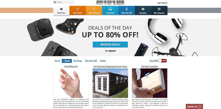 Ejemplo de una página de productos de afiliados en venta