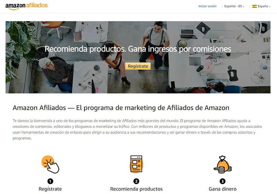 Página de afiliados de Amazon
