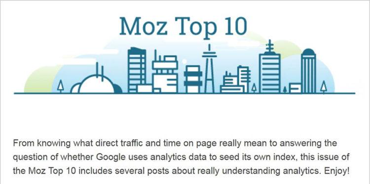 Sitio web Moz, página de suscripción 'top 10'
