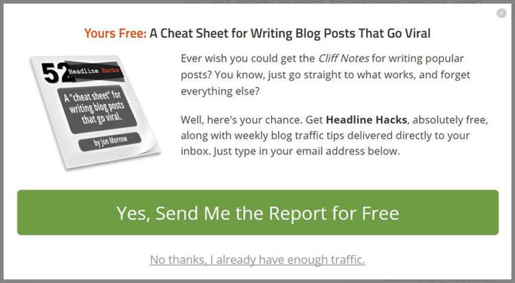 Ejemplo de ventana emergente de SmartBlogger