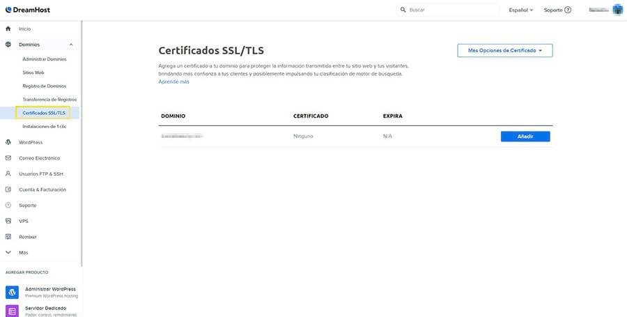 Añadir un certificado SSL en el panel de DreamHost.