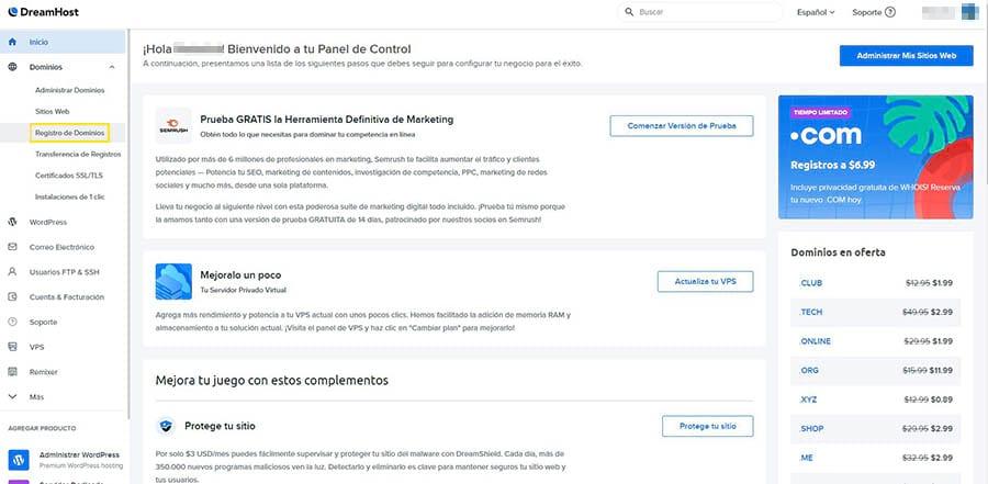 El enlace de Registro de Dominio en el panel de control de DreamHost.