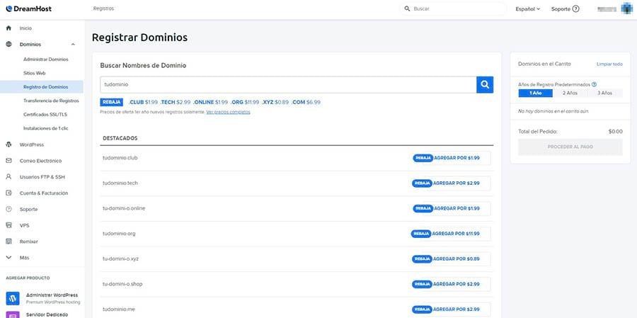 Registrando un nuevo dominio en el panel de DreamHost.